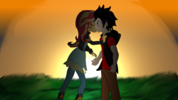 Size: 3900x2200 | Tagged: artist:remcmaximus, canon x oc, equestria girls, female, kissing, kiss on the cheek, male, oc, romance, safe, shipping, short story, straight, sunset, sunset shimmer, valentine's day