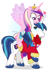 Size: 650x950   Tagged: safe, artist:dm29, princess cadance, shining armor, bouquet, cadance riding shining armor, female, heart, hearts and hooves day, husband and wife, male, ponies riding ponies, riding, rose, shiningcadance, shipping, simple background, straight, transparent background, valentine's day