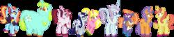 Size: 6472x1361 | Tagged: safe, artist:starryoak, cayenne, citrus blush, frazzle rock, moonlight raven, north point, pretzel twist, sassy saddles, sunshine smiles, whoa nelly, classical unicorn, pony, unicorn, canterlot boutique, female, leonine tail, mare, simple background, transparent background