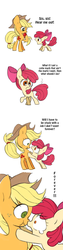 Size: 480x1920 | Tagged: apple, apple bloom, applejack, applejack's hat, artist:kairean, boop, comic, cowboy hat, crying, dialogue, duo, earth pony, eating, female, filly, food, forever, hat, mare, noseboop, pony, safe, scrunchy face, simple background, sisters, teary eyes, translation, white background