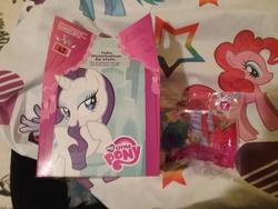 Size: 2592x1944 | Tagged: safe, pinkie pie, rainbow dash, rarity, twilight sparkle, alicorn, pony, box, female, happy meal, mare, mcdonald's, mcdonald's happy meal toys, my little pony logo, toy, twilight sparkle (alicorn)