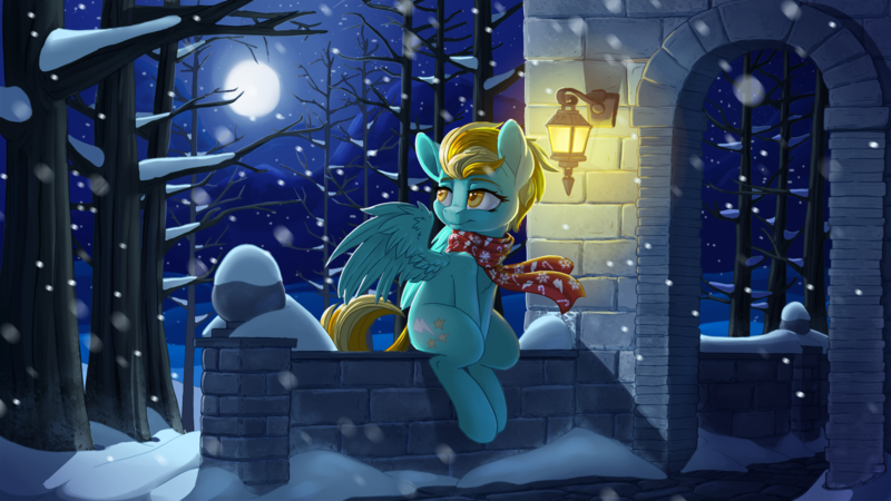 Size: 1920x1080 | Tagged: artist:pusspuss, clothes, cover art, fanfic art, featured image, female, full moon, lightning dust, looking back, mare, moon, night, pegasus, pony, safe, scarf, scenery, sitting, snow, snowfall, solo, tree, wallpaper