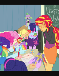 Size: 1024x1303 | Tagged: applejack, appleshimmer, artist:buryooooo, blushing, dog, draw the squad, equestria girls, female, fluttershy, friendship games, hearts and hooves day, humane seven, lesbian, meme, pinkie pie, present, rainbow dash, rarity, safe, sci-twi, scitwishimmer, shipping, spike, spike the dog, sunsarity, sunsetdash, sunsetpie, sunset shimmer, sunset shimmer gets all the mares, sunsetsparkle, sunset twiangle, sunshyne, twilight sparkle, twilight sparkle (alicorn), twolight, valentine's day