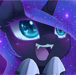 Size: 702x691 | Tagged: safe, artist:magnaluna, edit, nightmare moon, pony, blushing, bust, cheek fluff, chibi, cropped, cute, fangs, female, filly, hoof shoes, missing accessory, moonabetes, nightmare woon, open mouth, portrait, solo, starry eyes, teary eyes, woona