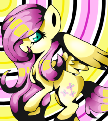 Size: 800x900 | Tagged: safe, artist:prettylittlepone, fluttershy, abstract background, looking at you, solo, spread wings