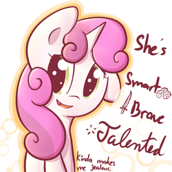 Size: 1000x1000 | Tagged: safe, artist:spikedmauler, sweetie belle, brain, dialogue, female, go ask sweetie belle, smiling, solo, sword, weapon