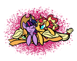 Size: 500x400 | Tagged: accesory swap, alternate hairstyle, applejack, appleshimmer, appleshimmerlight, artist:sallindaemon, cuddling, cute, embrace, female, hat, hug, lesbian, ot3, polyamory, pony, pony pile, safe, shipping, snuggling, sunset shimmer, sunsetsparkle, twijack, twilight sparkle