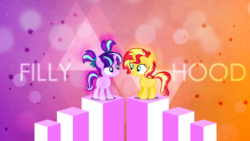 Size: 2560x1440 | Tagged: safe, artist:antylavx, artist:xebck, edit, starlight glimmer, sunset shimmer, pony, unicorn, filly, filly starlight, filly sunset, twilight's counterparts, wallpaper, wallpaper edit, younger