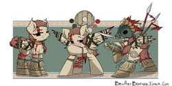 Size: 1280x640 | Tagged: safe, artist:bbsartboutique, oc, oc only, oc:rin, beads, blushing, bone, clothes, embarrassed, fighting stance, knife, markings, mask, ponytail, shield, side by side, skull, spear, stern, strategically covered, tail censor, tail wrap, tribal, weapon