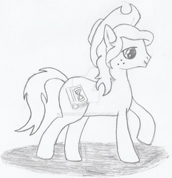 Size: 1024x1062   Tagged: safe, artist:hickory17, oc, oc only, oc:hickory switch, cowboy hat, cutie mark, hat, monochrome, solo, stetson, traditional art