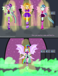 Size: 1320x1720 | Tagged: safe, artist:prettycelestia, adagio dazzle, aria blaze, sonata dusk, equestria girls, rainbow rocks, alternate scenario, fin wings, fusion, multiple arms, multiple eyes, ponied up, sleeveless, the dazzlings, this isn't even my final form, we have become one