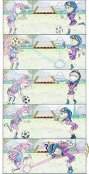 Size: 1269x2476 | Tagged: safe, artist:meiyeezhu, indigo zap, pinkie pie, equestria girls, friendship games, bouncing, breaking the fourth wall, bully, bullying, canterlot high, cartoon violence, clothes, comic, crying, crystal prep academy uniform, crystal prep shadowbolts, exclamation point, field, football, fourth wall, fourth wall destruction, funny, goggles, hilarious, humanized, kicking, mean, old master q, outdoors, parody, payback, portrait, question mark, revenge, rude, school uniform, skirt, soccer field, traditional art, trickshot