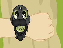 Size: 3300x2550 | Tagged: safe, artist:badumsquish, derpibooru exclusive, oc, oc only, oc:anni, human, object pony, original species, pony, watch pony, badumsquish strikes again, female, grin, happy, hugs needed, looking at you, looking up, micro, offscreen character, open mouth, ponified, pov, smiling, story included, time for ponies, upside down, wat, watch, wristwatch