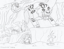 Size: 1013x788   Tagged: safe, artist:hickory17, chimera sisters, oc, oc:hickory switch, chimera, cowboy hat, fire, hat, hickory's journey, hiding, monochrome, multiple heads, scenery, show accurate, stetson, swamp, three heads, traditional art