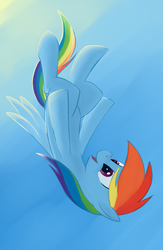 Size: 1300x2000 | Tagged: safe, artist:vistamage, rainbow dash, falling, female, freefall, sky, solo