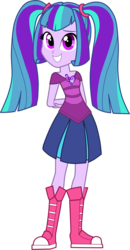 Size: 1485x2852 | Tagged: safe, artist:namygaga, oc, oc only, oc:melody sound, equestria girls, magical lesbian spawn, offspring, parent:aria blaze, parent:sonata dusk, parents:arisona, simple background, solo, transparent background, vector