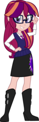 Size: 933x2909 | Tagged: artist:namygaga, equestria girls, magical lesbian spawn, oc, oc only, oc:violet sunrise, offspring, parent:sci-twi, parents:scitwishimmer, parents:sunsetsparkle, parent:sunset shimmer, parent:twilight sparkle, safe, simple background, solo, transparent background