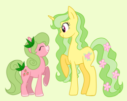 Size: 3056x2424 | Tagged: safe, artist:princess-madeleine, oc, oc only, oc:sweet strawberry, oc:woodland spring, earth pony, pony, unicorn, child, cutie mark, family, mother and daughter, pair, parent, size difference
