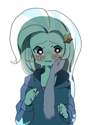 Size: 600x819 | Tagged: artist:lotte, blushing, caress, crying, disembodied arm, disembodied hand, equestria girls, hand, humanized, looking at you, sad, safe, trixie
