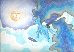 Size: 1024x728 | Tagged: artist:deadliestvenom, cloud, eyes closed, flying, moon, night, princess luna, safe, solo, stars, traditional art, watercolor painting