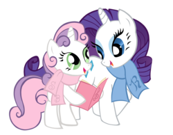 Size: 4002x3109 | Tagged: artist:jamy-jamy, clothes, rarity, safe, scarf, simple background, sweetie belle, transparent background, vector