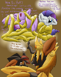 Size: 1024x1271 | Tagged: safe, artist:firefanatic, rarity, twilight sparkle, oc, oc:queen cocoon, changeling, changeling queen, moth, mothling, mothpony, original species, bondage, changeling queen oc, cocoon, crying, cute, eye contact, fangs, female, fluffy, misspelling, nerdgasm, open mouth, silk, smiling, species swap, spread wings, twilight sparkle (alicorn), wink, yellow changeling