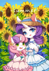 Size: 825x1200 | Tagged: safe, artist:huaineko, rarity, sweetie belle, pony, unicorn, bipedal, blushing, bow, bowtie, bracelet, clothes, dress, duo, flower, flower in hair, frilly dress, hat, jewelry, looking at you, pixiv, smiling, straw hat, sunflower