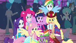 Size: 1280x720 | Tagged: safe, screencap, applejack, fluttershy, pinkie pie, rainbow dash, rarity, scott green, spike, tennis match, thunderbass, twilight sparkle, velvet sky, dog, equestria girls, equestria girls (movie), background human, balloon, boots, bracelet, cowboy boots, fall formal, fall formal outfits, hat, high heel boots, jewelry, ponied up, ponytail, sleeveless, sparkles, spike the dog, this is our big night, top hat, wings