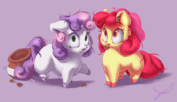 Size: 1024x592 | Tagged: adorabloom, apple bloom, artist:sverre93, caught, chibi, chubby, cookie, cookie jar, cookie thief, cute, diasweetes, food, messy eating, messy mane, mouth hold, safe, sverre is trying to murder us, sweetie belle