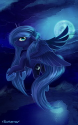 Size: 1000x1600   Tagged: safe, artist:1deathpony1, princess luna, female, floppy ears, flying, lake, moon, mountain, night, plot, river, s1 luna, scenery, solo