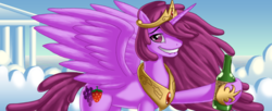 Size: 1023x418 | Tagged: safe, artist:berrypawnch, berry punch, berryshine, alicorn, pony, alicornified, berrycorn, lip bite, meme, race swap, solo, trollface