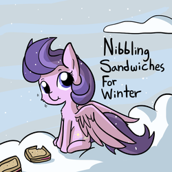 Size: 792x792 | Tagged: safe, artist:tjpones, clear skies, pegasus, pony, :t, bait and switch, cloud, cute, daaaaaaaaaaaw, eating, fluffy, food, looking at you, nsfw, pun, sandwich, sitting, smiling, snow, snowfall, solo, spread wings, tjpones is trying to murder us, weapons-grade cute, winter