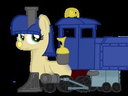 Size: 1024x768 | Tagged: safe, artist:bronyclopman, artist:bronytrainman, oc, oc only, oc:lilly bell, object pony, original species, train pony, inanimate tf, locomotive, ponified, solo, steam locomotive, train, trainified, transformation