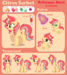 Size: 1160x1300 | Tagged: safe, artist:sunbusting, oc, oc only, oc:citrus sorbet, cutie mark, female, filly, magic, reference sheet, solo