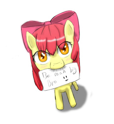 Size: 1000x1080 | Tagged: safe, artist:jumboz95, apple bloom, adorabloom, blushing, bronybait, cute, female, mouth hold, note, simple background, solo, white background