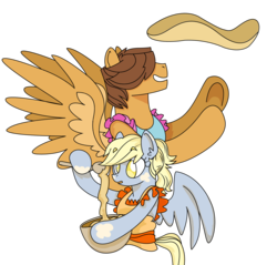 Size: 2222x2121 | Tagged: safe, artist:dbkit, derpy hooves, hoops, pegasus, pony, apron, baking, clothes, ditzyhoops, female, male, mare, shipping, simple background, straight, transparent background