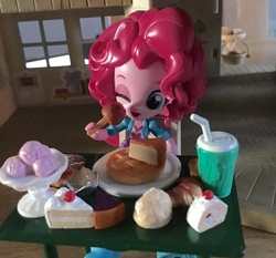 Size: 2838x2643 | Tagged: safe, pinkie pie, equestria girls, doll, eating, equestria girls minis, irl, one eye closed, photo, toy