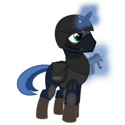 Size: 3000x3000 | Tagged: safe, artist:mahaugher, pony, unicorn, magic, ponified, simple background, solo, swat, transparent background, weapon
