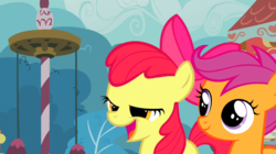 Size: 765x429 | Tagged: apple bloom, chickun, faic, ponyville confidential, safe, scootaloo, screencap, smiling
