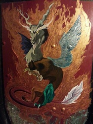Size: 720x960 | Tagged: safe, discord, irl, larp, painting, photo, shield, traditional art