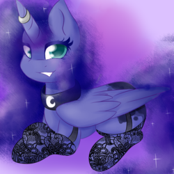 Size: 1280x1280 | Tagged: source needed, safe, artist:girorogirl, princess luna, clothes, collar, horn ring, solo, stockings