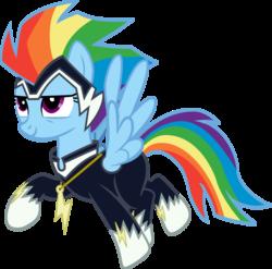 Size: 882x873 | Tagged: safe, artist:peremarquette1225, rainbow dash, zapp, power ponies (episode), clothes, confident, costume, power ponies, solo, superhero