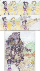 Size: 3272x5784   Tagged: safe, artist:meiyeezhu, sci-twi, twilight sparkle, robot, equestria girls, friendship games, atlas, attempted murder, backpack, battle suit, bloodknife, boulder, chase, clothes, comic, crystal prep academy uniform, dagger, firing, forest, funny, giant robot, glasses, gun, hair bun, help, help me, high heels, huge, knife, mech, nervous, now you fucked up, old master q, outdoors, overpowered, pistol, rock, ruger lcp, running, school uniform, serial killer, shocked, shooting, skirt, stockings, surprised, taser, this will end in death, this will end in pain, threatening, titan, titanfall, traditional art, tree, unexpected, weapon