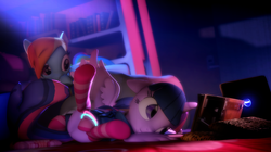 Size: 1920x1079 | Tagged: 3d, alicorn, artist:doge4ce, book, clothes, female, glow rings, mare, pony, rainbow dash, reading, safe, socks, source filmmaker, striped socks, twilight sparkle, twilight sparkle (alicorn)