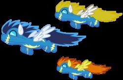 Size: 4627x3000   Tagged: safe, artist:brony-works, blaze, blue blazes, surprise, pegasus, pony, background pony, female, goggles, mare, wonderbolts, wonderbolts uniform