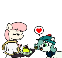 Size: 640x600 | Tagged: safe, artist:ficficponyfic, color edit, edit, oc, oc only, oc:emerald jewel, oc:hope blossoms, earth pony, pony, colt quest, cake, cake slice, child, clothes, color, colored, colt, cute, female, foal, food, happy, hat, heart, hungry, male, mare, plate, spoon, young