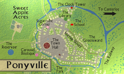 Size: 1432x856 | Tagged: safe, artist:chatoyance, carousel boutique, city map, fanfic art, map, map of ponyville, ponyville, ponyville reservoir, ponyville town hall, river, sugarcube corner, sweet apple acres, the prisoner, the village