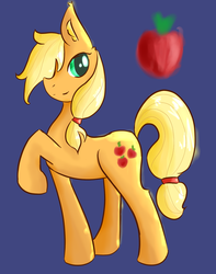 Size: 1176x1490 | Tagged: safe, artist:fluffleduckle, applejack, apple, food, hatless, missing accessory, solo