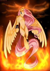 Size: 1024x1448   Tagged: safe, artist:neoncel, fluttershy, female, fire, flying, lightning, looking at you, metal, solo