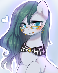 Size: 2000x2500 | Tagged: adoraquartz, artist:shilzumi, artist:焰鑰 熾泉, bedroom eyes, blushing, cloudy quartz, colored pupils, cute, earth pony, glasses, heart, licking, licking lips, looking at you, loose hair, pixiv, pony, safe, smiling, solo, stupid sexy cloudy quartz, tongue out
